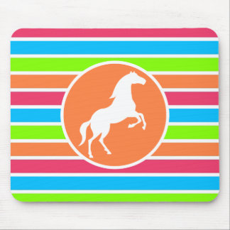 Horse; Neon Orange Pink Blue Green Stripes Mouse Pad
