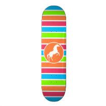 Horse; Neon Orange Pink Blue Green Stripes Skateboard Deck