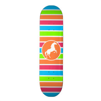 Horse; Neon Orange Pink Blue Green Stripes Skateboard Deck