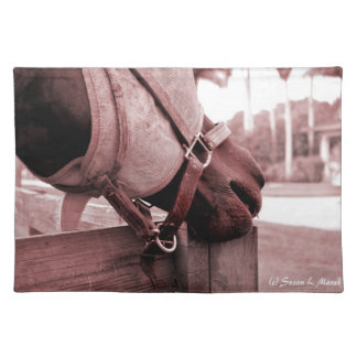 horse nom nom red brown tone cloth placemat