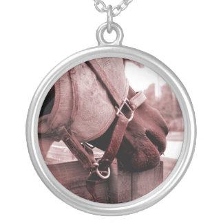 horse nom nom red brown tone round pendant necklace