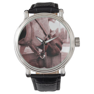 horse nom nom red brown tone wrist watches