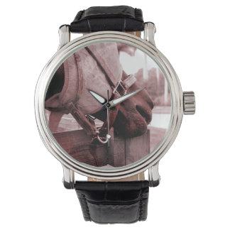 horse nom nom red brown tone wrist watches