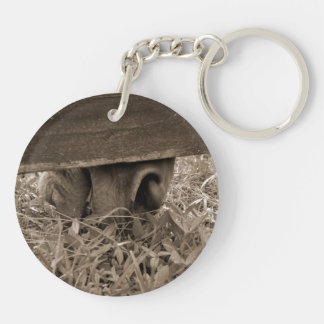 Horse nose grazing under fence toned keychain