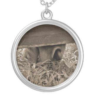 Horse nose grazing under fence toned round pendant necklace