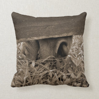Horse nose grazing under fence toned throw pillow