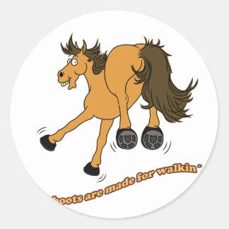 Horse of boat round sticker