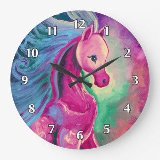 Horse Of Bright Colours Large Clock