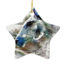 Horse of Color animal art Ceramic Ornament