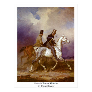 Horse Of Prince Wilhelm By Franz Kruger Post Card