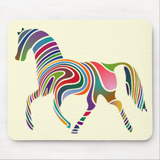 Horse of rainbow mouse pad