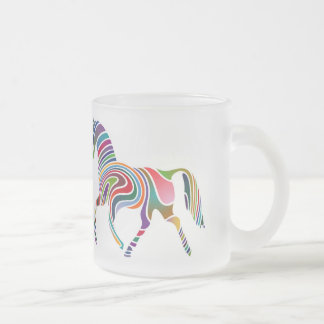 Horse of rainbow 10 oz frosted glass coffee mug