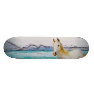 Horse on a beach. skateboard
