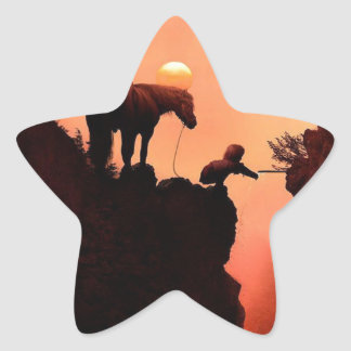 Horse on a Cliff Star Sticker