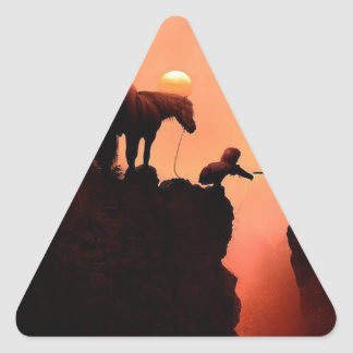 Horse on a Cliff Triangle Sticker