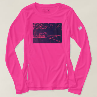 Horse on a Hill Ladies athletic Long Sleeve Tshirt