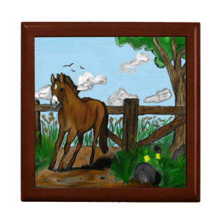Horse on a Summer Run Wooden Gift box