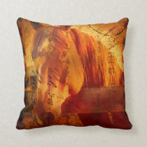 Horse on Aged Postage Throw Pillow