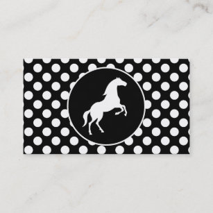 Black horse business cards templates zazzle horse on black and white polka dots business card wajeb Image collections