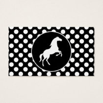 Horse on Black and White Polka Dots Business Card