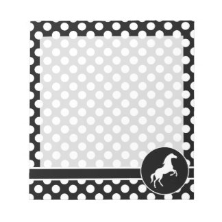 Horse on Black and White Polka Dots Notepad