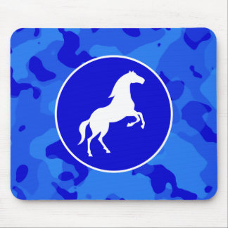 Horse on Blue Camo; Camouflage Mouse Pad