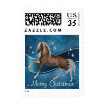 Horse On Blue Merry Christmas Postage Stamp