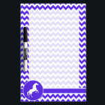 """Horse on Blue Violet Chevron; Equestrian Dry Erase Board<br><div class=""""desc"""">You will love this cute equestrian,  horse &amp; Blue Violet Chevron  pattern!  We invite you to our store,  PetWorld,  to view this cool wild stallion design on many more great customizable pet products,  including girly birthday cards,  modern kids invitations,  and trendy postcard kid&#39;s party invitations!</div>"""