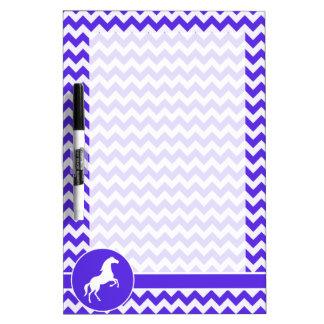 Horse on Blue Violet Chevron; Equestrian Dry Erase Board