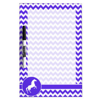 Horse on Blue Violet Chevron; Equestrian Dry-Erase Board