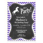 Horse on Blue Violet Chevron; Equestrian Personalized Invite