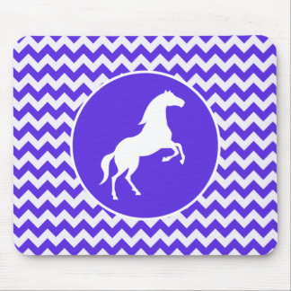 Horse on Blue Violet Chevron; Equestrian Mouse Pad