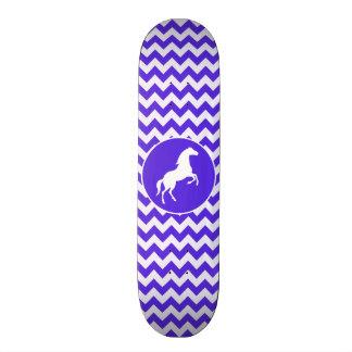 Horse on Blue Violet Chevron; Equestrian Skateboard Deck