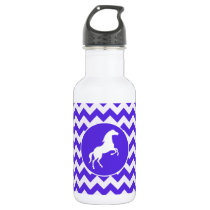 Horse on Blue Violet Chevron; Equestrian Water Bottle