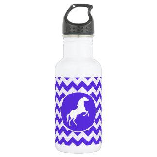Horse on Blue Violet Chevron; Equestrian Water Bottle