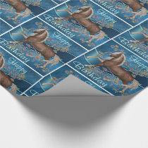 Horse On Blue With Glitter Print Flowers Happy Bir Wrapping Paper