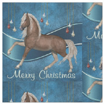 Horse On Blue with Ornaments Merry Christmas Fabric