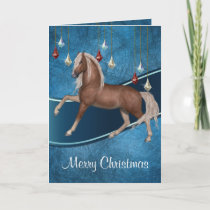 Horse On Blue with Ribbon  Merry Christmas Card 2