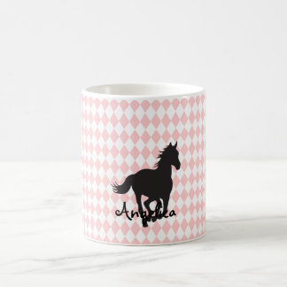 Horse on Diamond Pattern Template Coffee Mug