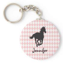 Horse on Diamond Pattern Template Keychain