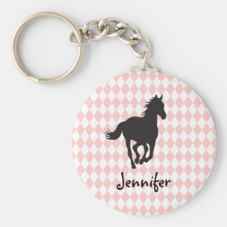 Horse on Diamond Pattern Template Keychain