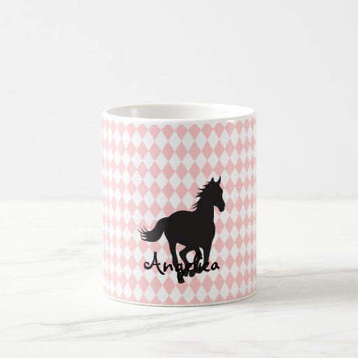 Horse on Diamond Pattern Template Mug