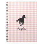 Horse on Diamond Pattern Template Spiral Note Books