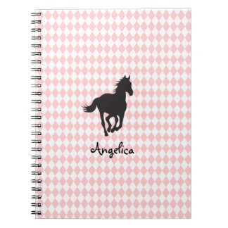 Horse on Diamond Pattern Template Spiral Note Book