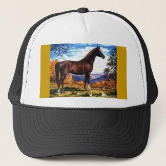Horse on hillside trucker hat