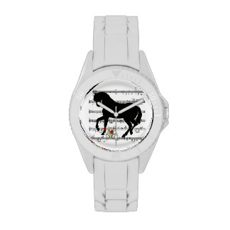 """""""Horse on Music Sheet"""" Wristwatches"""