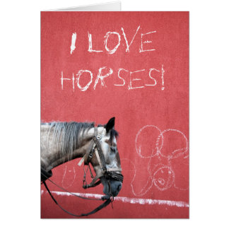 Horse on Red Background Card