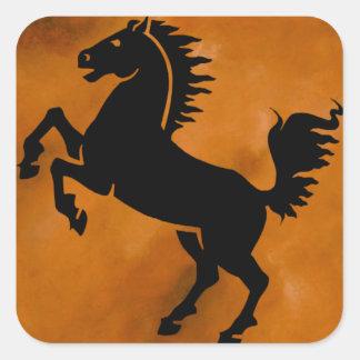Horse on Terra Cotta Square Sticker