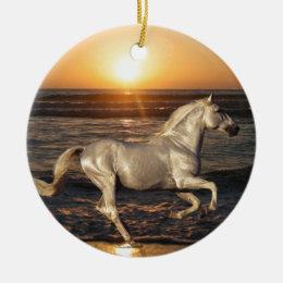 Horse on the Beach Ceramic Ornament