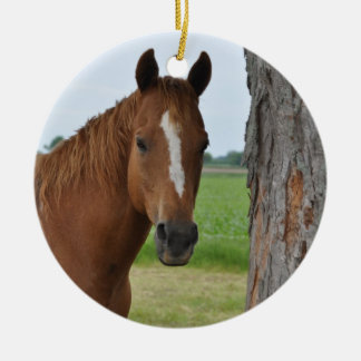 Horse Double-Sided Ceramic Round Christmas Ornament
